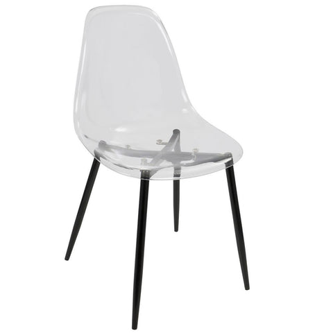Lumisource Clara Mid-Century Modern Dining Chair in Black and Clear - Set of 2