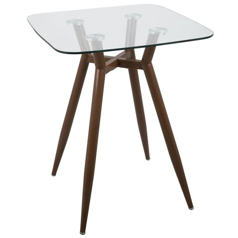 Lumisource Clara Mid-Century Modern Square Counter Table with Walnut Metal Legs and Clear Glass Top