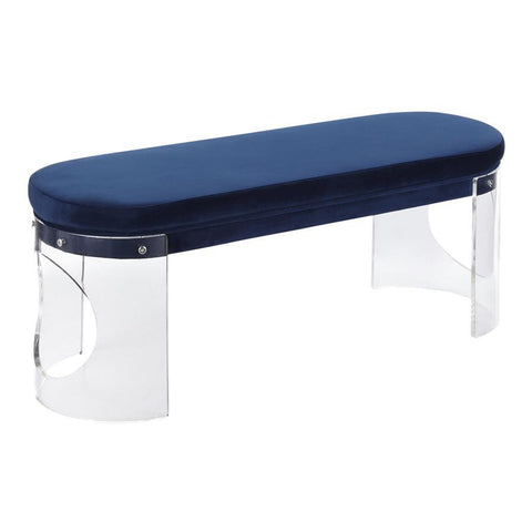 Lumisource Clarity Contemporary/Glam Bench in Clear Acrylic and Navy Blue Velvet