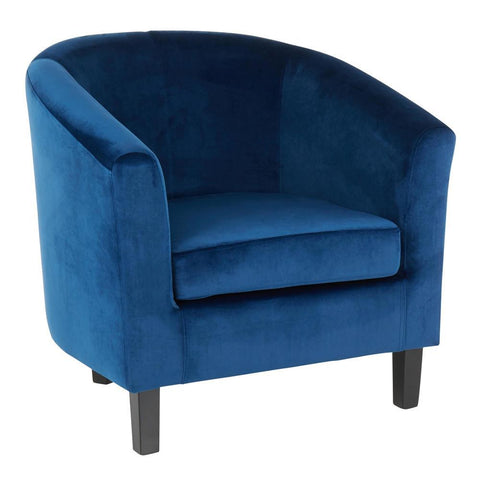 Lumisource Claudia Contemporary Accent Chair in Black Wooden Legs and Blue Velvet