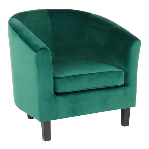 Lumisource Claudia Contemporary Accent Chair in Black Wooden Legs and Green Velvet