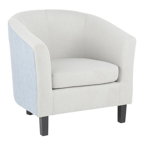 Lumisource Claudia Contemporary Barrel Chair in Black Wood and Light Grey Fabric with Light Blue Accent