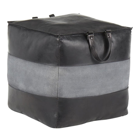 Lumisource Cobbler Industrial Pouf in Black Leather and Grey Canvas