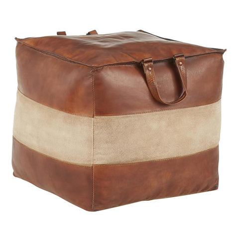 Lumisource Cobbler Industrial Pouf in Brown Leather and Tan Canvas