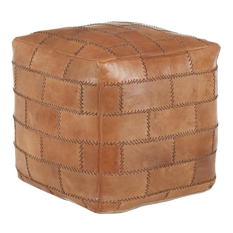 Lumisource Cobbler Industrial Pouf in Brown Leather