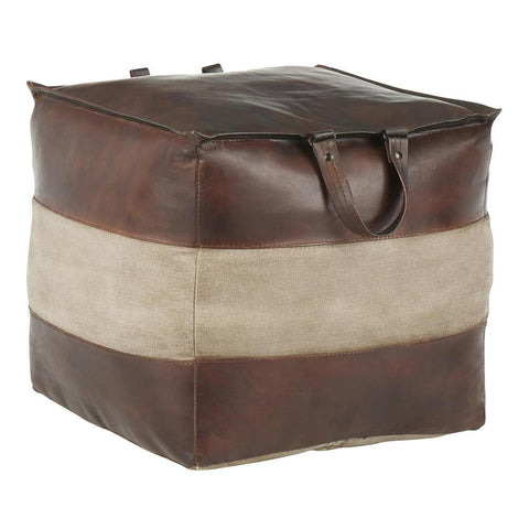 Lumisource Cobbler Industrial Pouf in Espresso Leather and Tan Canvas