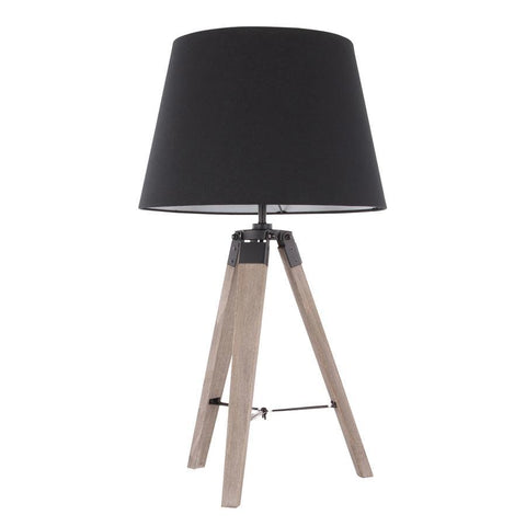 Lumisource Compass Mid-Century Modern Table Lamp in Grey Washed Wood and Black Shade