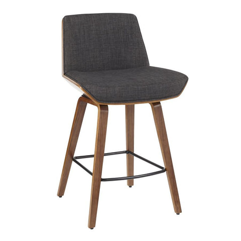 Lumisource Corazza Mid-Century Modern Counter Stool in Walnut Wood & Charcoal Fabric