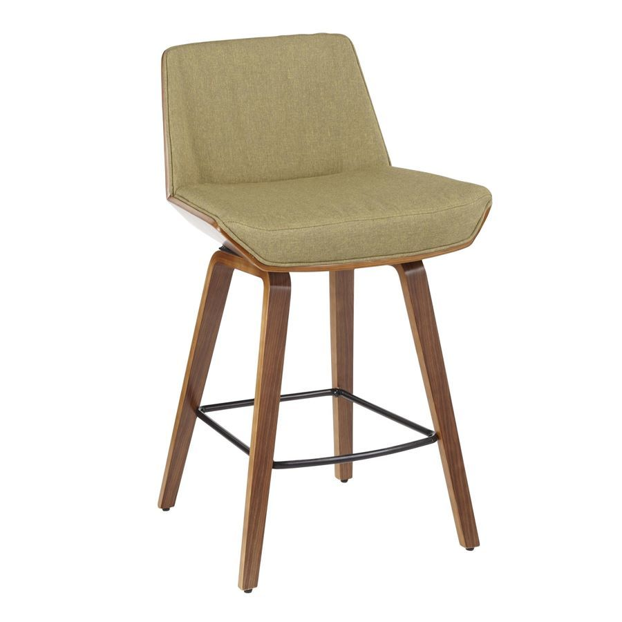 Awe Inspiring Lumisource Corazza Mid Century Modern Counter Stool In Walnut Wood Green Fabric Squirreltailoven Fun Painted Chair Ideas Images Squirreltailovenorg