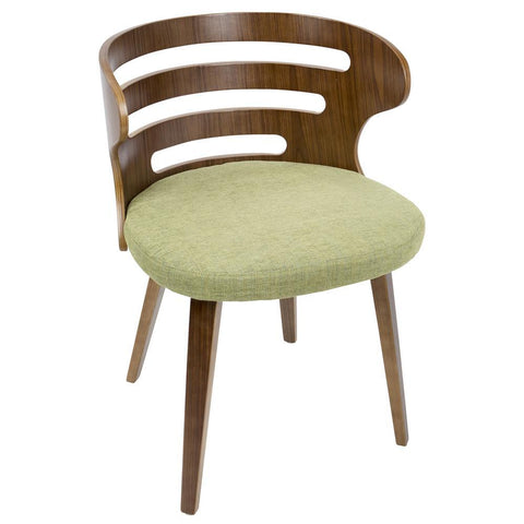 Lumisource Cosi Mid-Century Modern Dining/Accent Chair in Walnut and Green Fabric