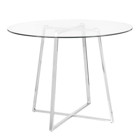 Lumisource Cosmo Contemporary/Glam Dining Table in Chrome & Clear Tempered Glass Top