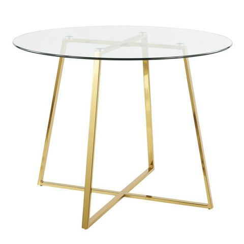Lumisource Cosmo Contemporary/Glam Dining Table in Gold Metal & Clear Tempered Glass