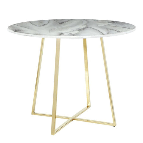 Lumisource Cosmo Contemporary/Glam Dining Table in Gold Metal & White Marble Top
