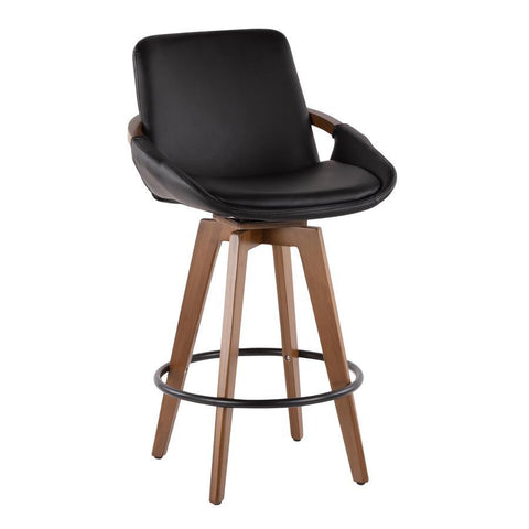 Lumisource Cosmo Mid-Century Counter Stool in Walnut and Black Faux Leather