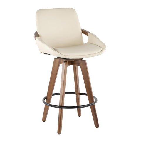 Lumisource Cosmo Mid-Century Counter Stool in Walnut and Cream Faux Leather