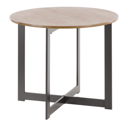 Lumisource Cosmopolitan Industrial End Table in Black Metal and Walnut Wood