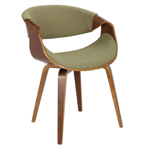 Lumisource Curvo Mid-Century Modern Dining/Accent Chair in Walnut and Green Fabric