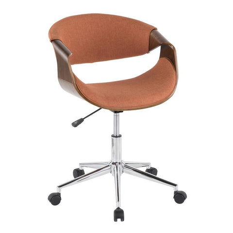 Lumisource Curvo Mid-Century Modern Office Chair in Walnut Wood and Orange Fabric