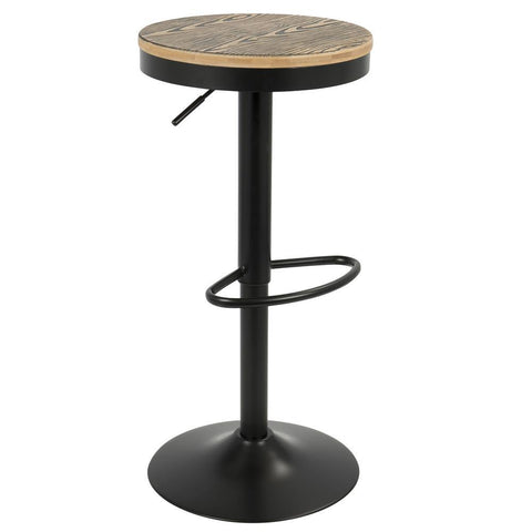 Lumisource Dakota Industrial Adjustable Barstool with Swivel in Black Metal and Brown Pressed, Wood Grain Bamboo - Set of 2