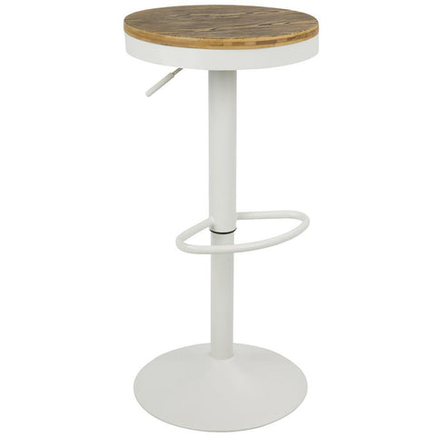 Lumisource Dakota Industrial Adjustable Barstool with Swivel in White - Set of 2