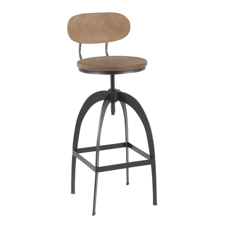Admirable Lumisource Dakota Industrial Mid Back Barstool In Black Metal Medium Brown Wood Pressed Grain Bamboo Machost Co Dining Chair Design Ideas Machostcouk
