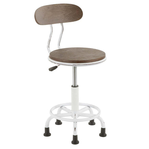 Lumisource Dakota Industrial Task Chair in Vintage White Metal and Espresso Wood