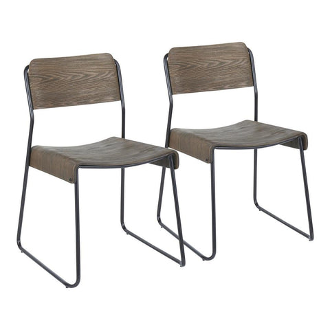 Lumisource Dali Industrial Chair in Black Metal and Espresso Wood. - Set of 2