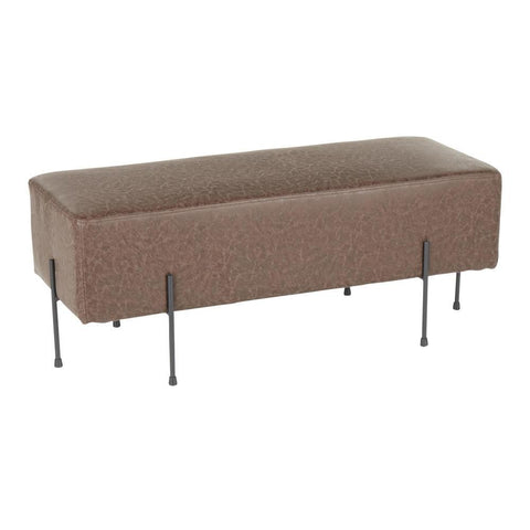 Lumisource Daniella Contemporary Bench in Black Metal and Espresso Faux Leather