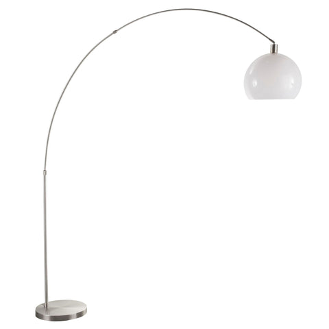 Lumisource Decco Modern Arched Floor Lamp in Satin Nickel w/White Shade