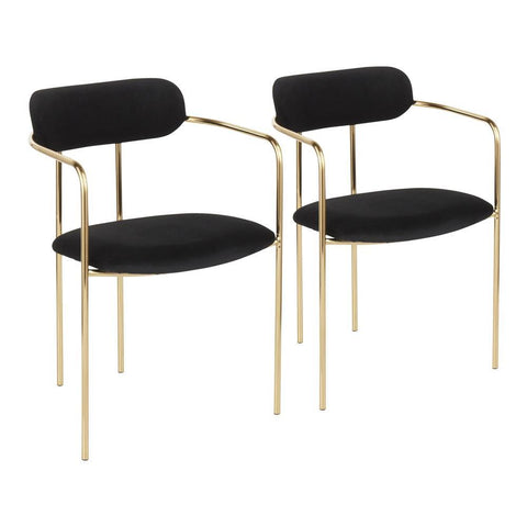Lumisource Demi Contemporary Chair in Gold Metal and Black Velvet - Set of 2