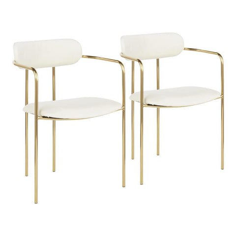 Lumisource Demi Contemporary Chair in Gold Metal and Cream Velvet - Set of 2