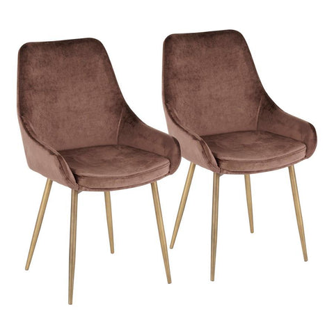 Lumisource Diana Contemporary Chair in Satin Brass Metal and Chocolate Brown Velvet - Set of 2