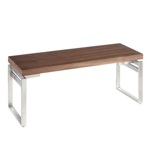Lumisource Drift Industrial Bench in Stainless Steel & Walnut Wood