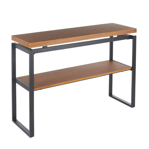Lumisource Drift Industrial Console Table in Black Metal with Weathered Walnut Wood