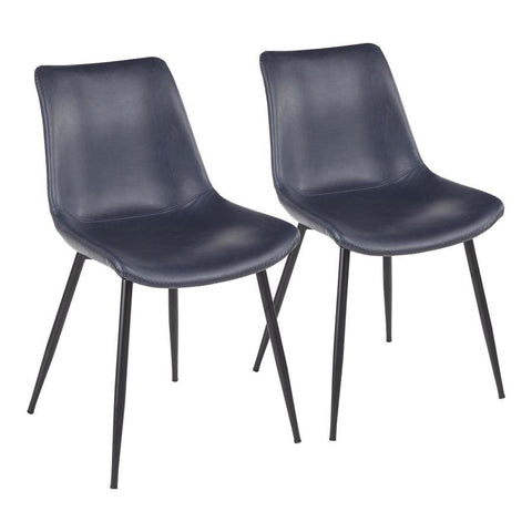 Lumisource Durango Contemporary Dining Chair in Black with Vintage Blue Faux Leather - Set of 2
