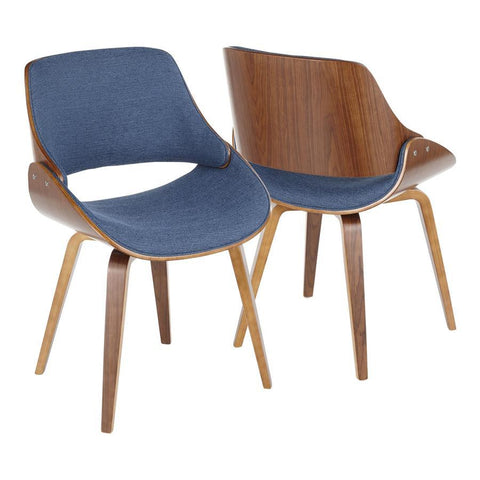 Lumisource Fabrizzi Mid-Century Modern Dining/Accent Chair in Walnut and Denim Blue - Set of 2