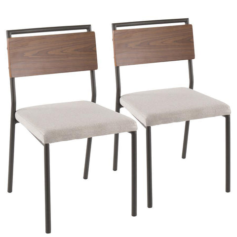 Lumisource Fiji Contemporary Chair in Grey Metal with Cream Fabric and Walnut Wood Accent - Set of 2