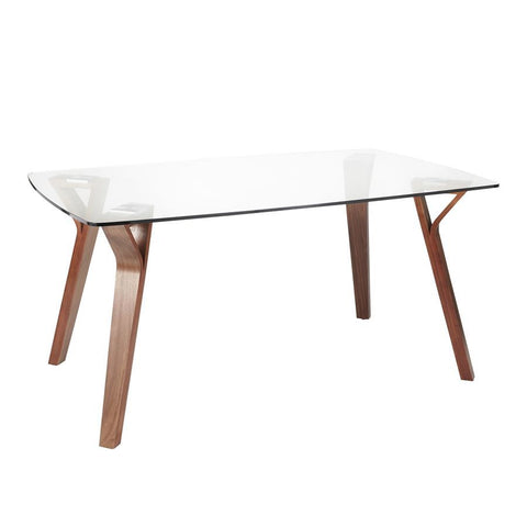 Lumisource Folia Mid-Century Modern Dining Table in Walnut Wood w/Clear Tempered Glass