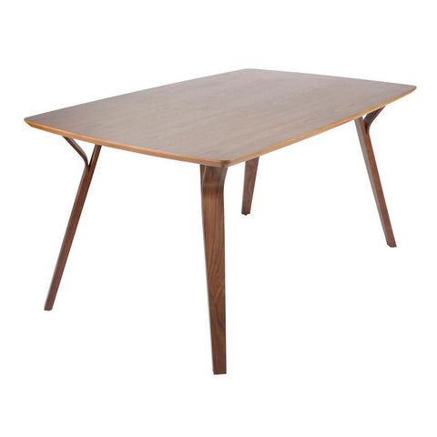 Lumisource Folia Mid-Century Modern Dining Table in Walnut Wood