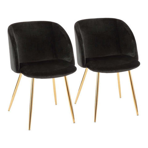 Lumisource Fran Contemporary Chair in Gold Metal and Black Velvet - Set of 2