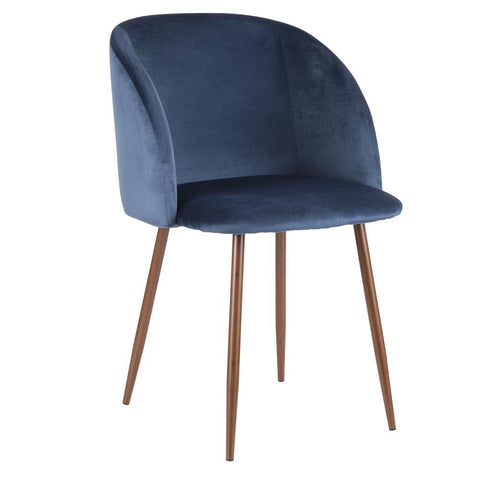 Lumisource Fran Contemporary Dining Chair in Walnut and Blue Velvet - Set of 2