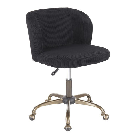 Lumisource Fran Contemporary Task Chair in Black Corduroy Fabric