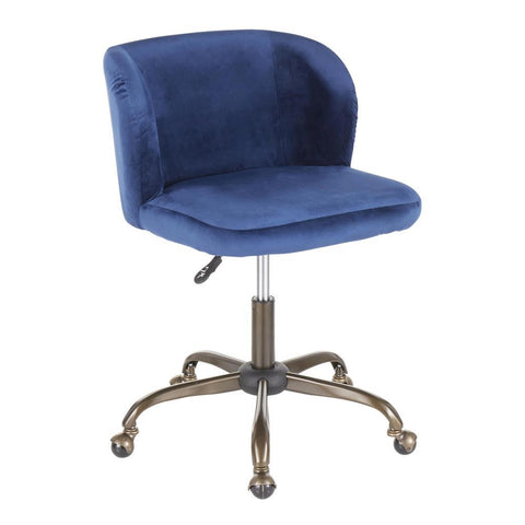Lumisource Fran Contemporary Task Chair in Blue Velvet