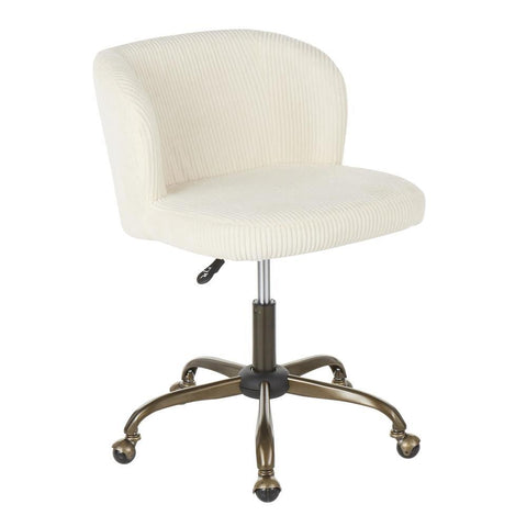 Lumisource Fran Contemporary Task Chair in Cream Corduroy Fabric