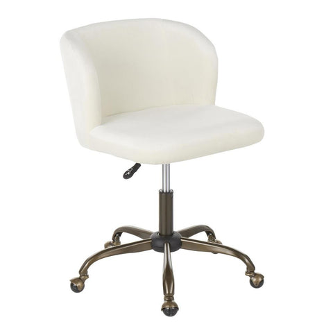 Lumisource Fran Contemporary Task Chair in Cream Velvet