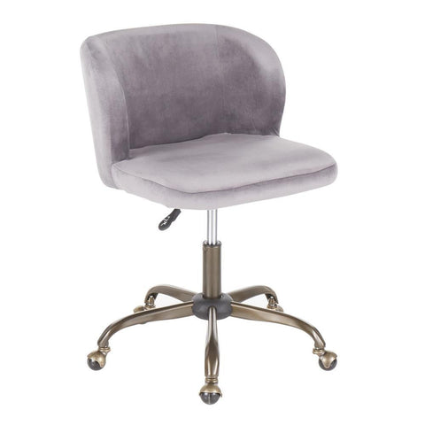 Lumisource Fran Contemporary Task Chair in Silver Velvet