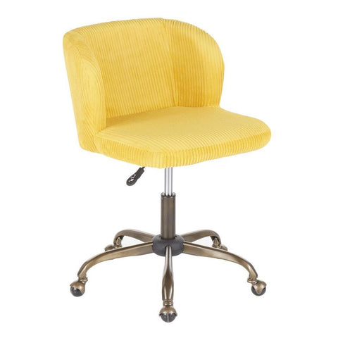 Lumisource Fran Contemporary Task Chair in Yellow Corduroy Fabric