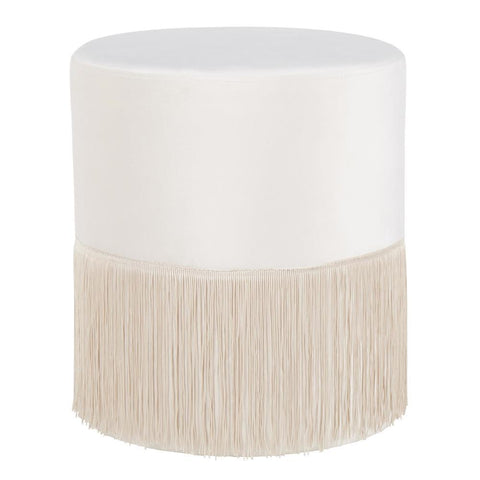 Lumisource Fringe Contemporary Ottoman in Cream Velvet