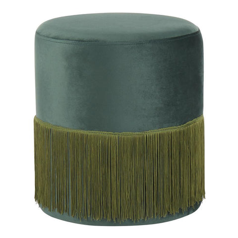 Lumisource Fringe Contemporary Ottoman in Emerald Green Velvet
