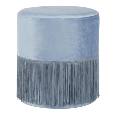 Lumisource Fringe Contemporary Ottoman in Powder Blue Velvet